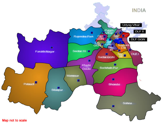 Gurgaon Brand Story, Gurgaon District Map