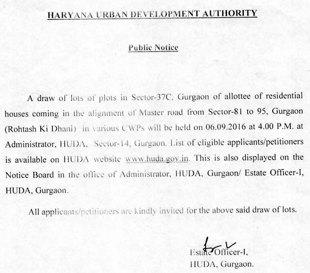 HUDA Notice for Draw of Lots of Plots in Sector 37C Gurgaon