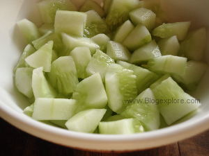 chopped cucumbers for juice