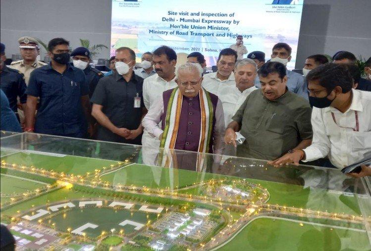 दिल्ली-मुंबई एक्सप्रेसवे परियोजना का निरीक्षण करने पहुंचे केंद्रीय मंत्री नितिन गडकरी